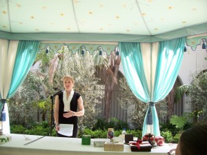 In Style Contributor speaks under a Raj Tent in Vibiana Courtyard, Photo by Paige Donner