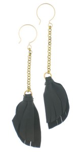 AK Vintage black leather feather earrings