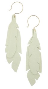 AK Vintage white leather feather earrings