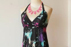 black neon maxi dress