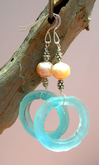 recycled bombay bottle earrings