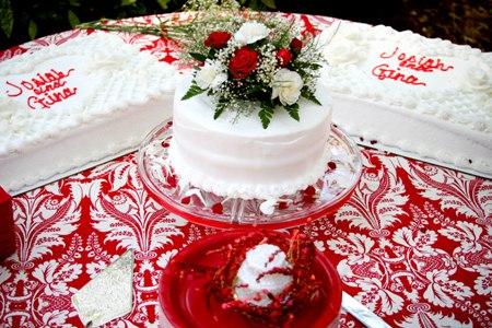 . Sarah Klein Photo - Red Damask Fabric - Cake Table
