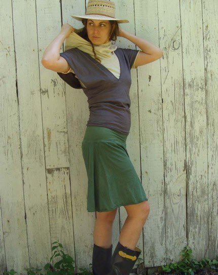 Gaia Conceptions clothing for the urban nomad. The Longer Skort shown here is made from hemp and local organic cotton.