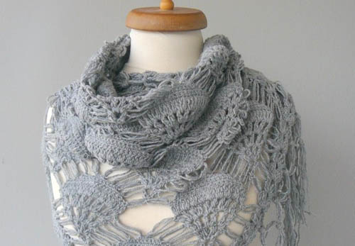 Grey organic cotton shawl