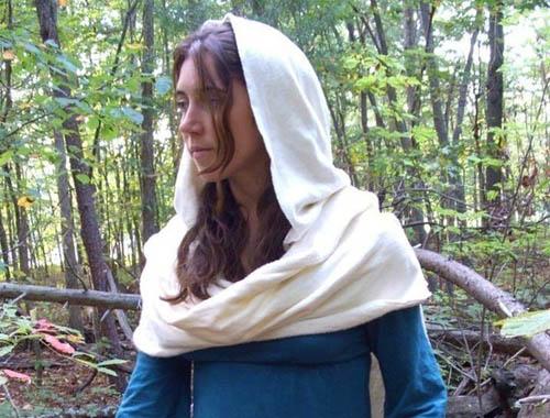 hooded organic cotton and hemp scarf