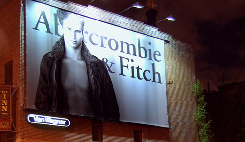 Abercrombie and Fitch billboard at night.