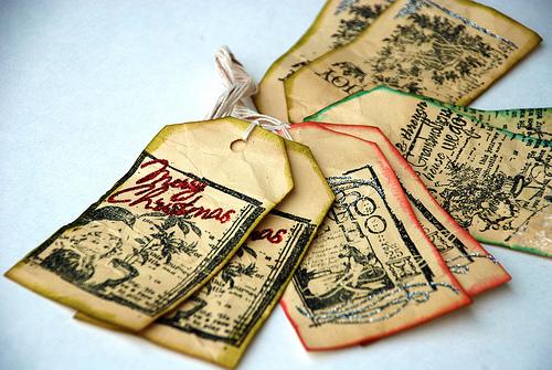 An assortment of handmade gift tags.