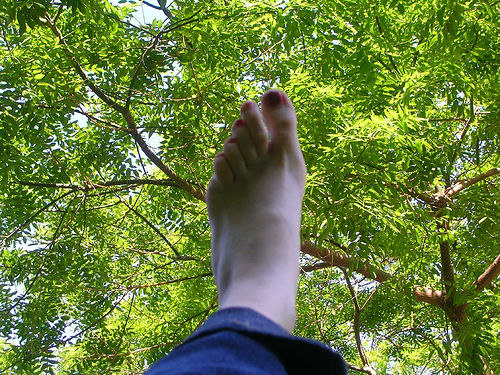 foot in the air