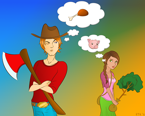 A young man wearing a large cowboy hat and holding an ax stares sideways at a young women as he thinks about meat via a cartoon thought bubble. The young stares ack at him with a concerned expression, holding a tree as she thinks about a pig.