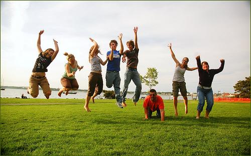 happiness jump