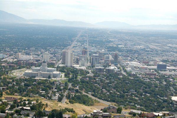 Salt Lake City in smoggy haze