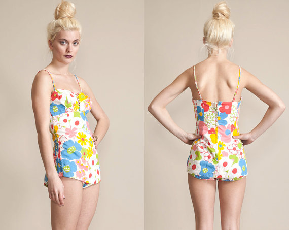 50s floral one piece