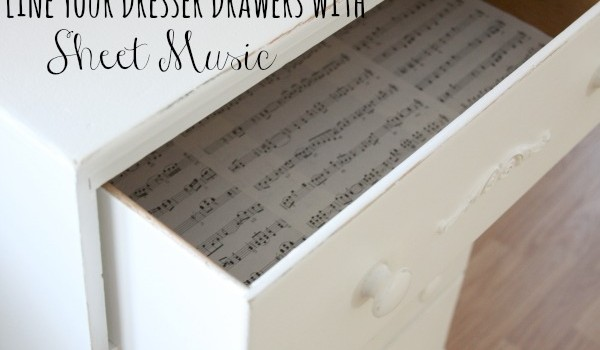 DIY Furniture Projects Line Your Dresser Drawers with Sheet Music
