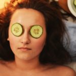 face mask with cucumbers on eyes