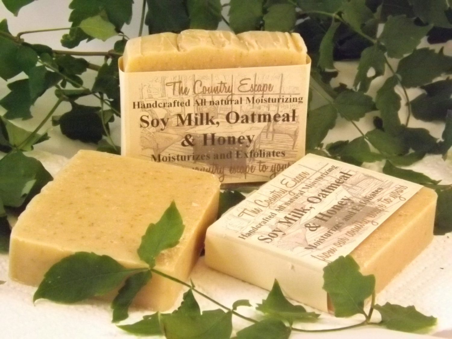 soy milke, oatmeal, and honey soap